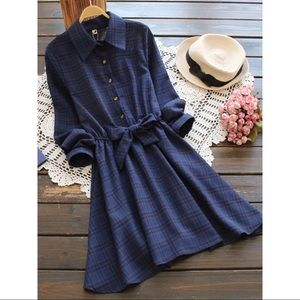 Dresses & Skirts - Blue Check Print Collar Mini Dress